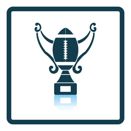 football trophy: American football trophy cup icon. Shadow reflection design. Vector illustration.