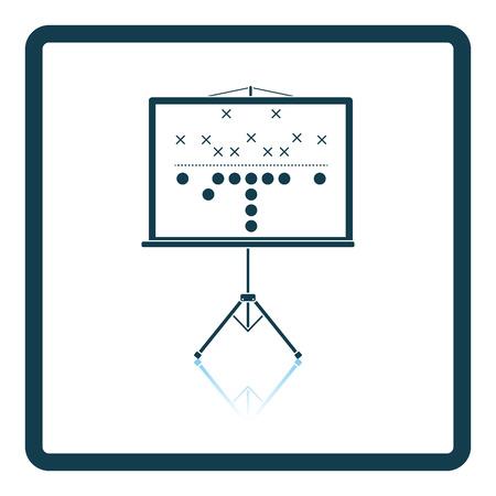 Amerikaanse plannen stand icoon voetbalwedstrijd. schaduw ontwerp. Vector illustratie.