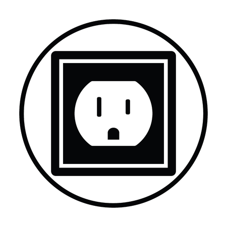 wattage: Electric outlet icon. Thin circle design. Vector illustration. Illustration
