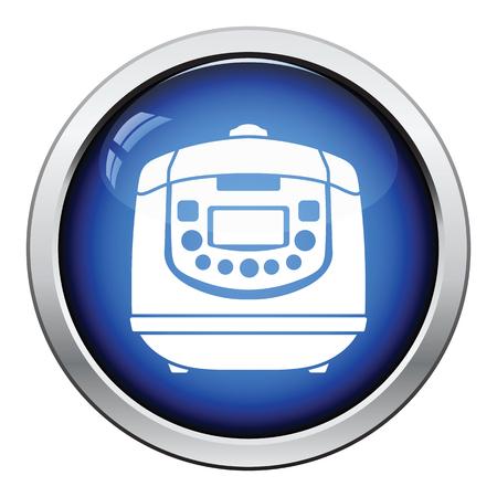 food preparation: Kitchen multicooker machine icon. Glossy button design. Vector illustration. Illustration