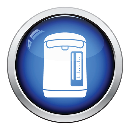 electric kettle: Kitchen electric kettle icon. Glossy button design. Vector illustration. Illustration