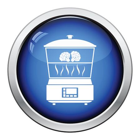 steam cooker: Kitchen steam cooker icon. Glossy button design. Vector illustration.