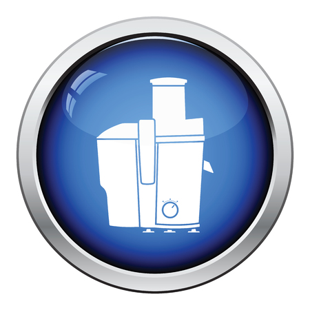 juice extractor: Juicer machine icon. Glossy button design. Vector illustration. Illustration