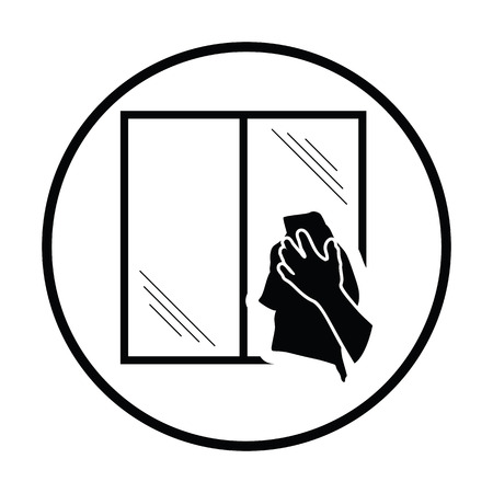 wiping: Hand wiping window icon. Thin circle design. Vector illustration.