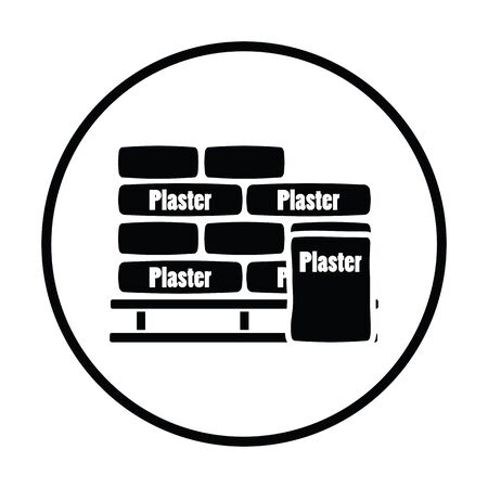 construction projects: Palette with plaster bags icon. Thin circle design. Vector illustration. Illustration
