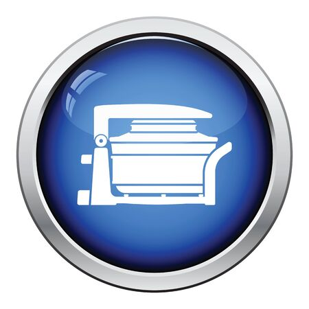 hotter: Electric convection oven icon. Glossy button design. Vector illustration.