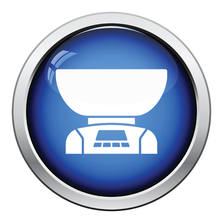 freestanding: Kitchen electric scales icon. Glossy button design. Vector illustration.