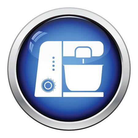food processor: Kitchen food processor icon. Glossy button design. Vector illustration. Illustration