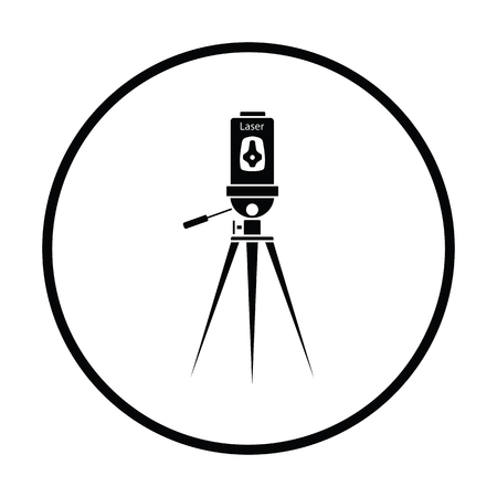 Laser level tool icon. Thin circle design. Vector illustration.