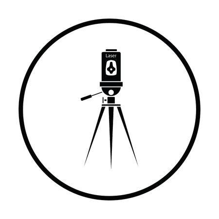 topografo: nivel láser icono de la herramienta. diseño del círculo delgada. Ilustración del vector. Vectores