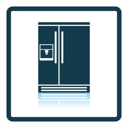large house: Wide refrigerator icon. Shadow reflection design. Vector illustration.