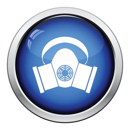 elementos de protección personal: Polvo icono de máscara de protección. Diseño brillante del botón. Ilustración del vector. Vectores