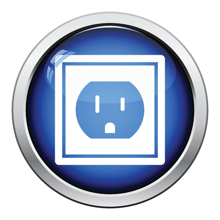 electric outlet: Electric outlet icon. Glossy button design. Vector illustration.