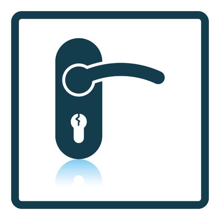 handle: Door handle icon. Shadow reflection design. Vector illustration.