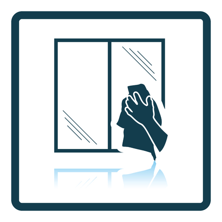 dry cleaner: Hand wiping window icon. Shadow reflection design. Vector illustration.