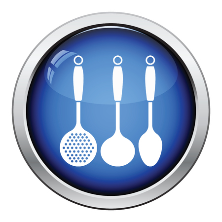 masher: Ladle set icon. Glossy button design. Vector illustration.