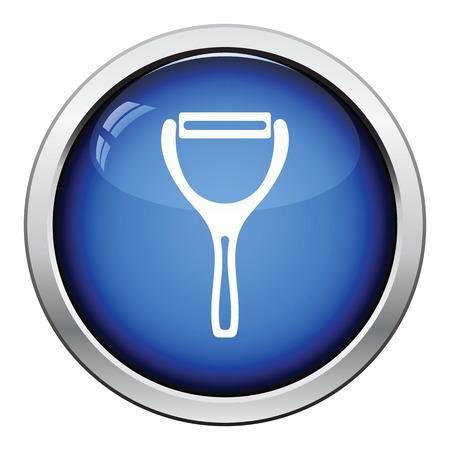 peeler: Vegetable peeler icon. Glossy button design. Vector illustration.