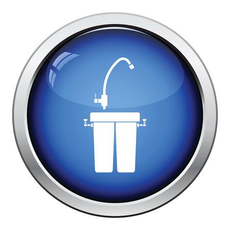 icona del filtro acqua. progettazione pulsante lucido. Illustrazione vettoriale.