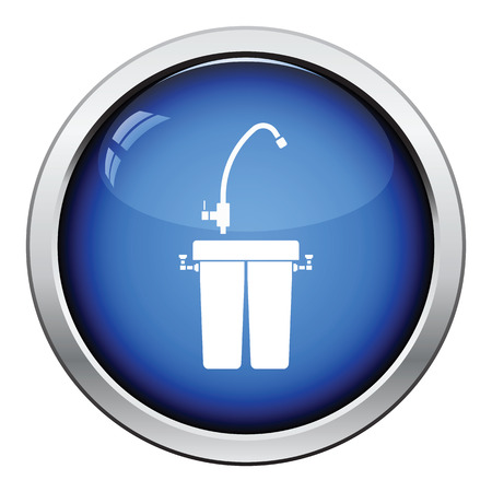 water filter: Water filter icon. Glossy button design. Vector illustration. Illustration