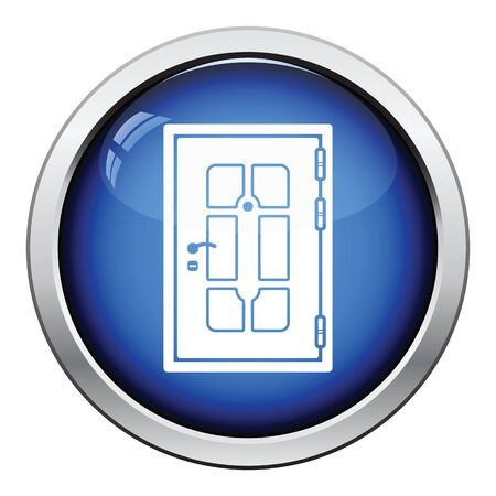 single entry: Apartments door icon. Glossy button design. Vector illustration.