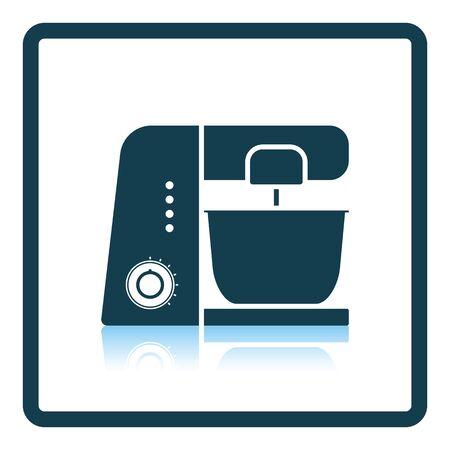 shredder machine: Kitchen food processor icon. Shadow reflection design. Vector illustration. Illustration