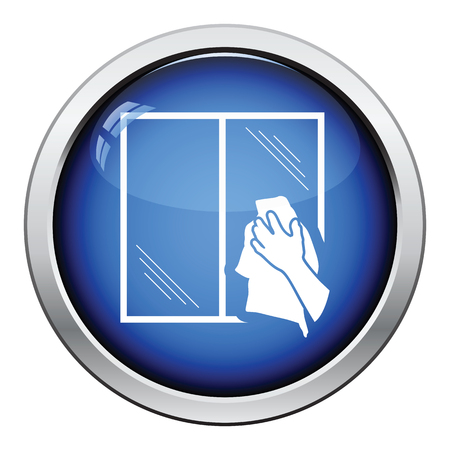 wet cleaning: Hand wiping window icon. Glossy button design. Vector illustration. Illustration