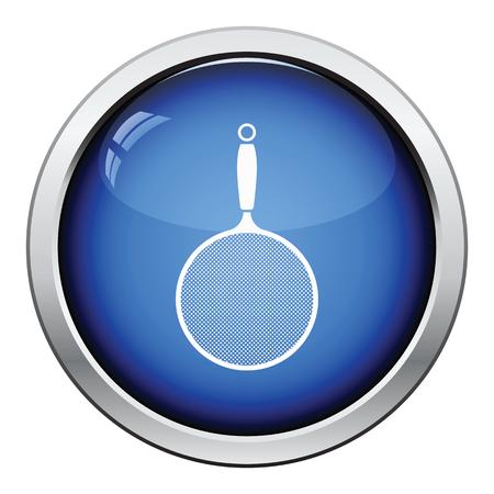 drainer: Kitchen colander icon. Glossy button design. Vector illustration. Illustration