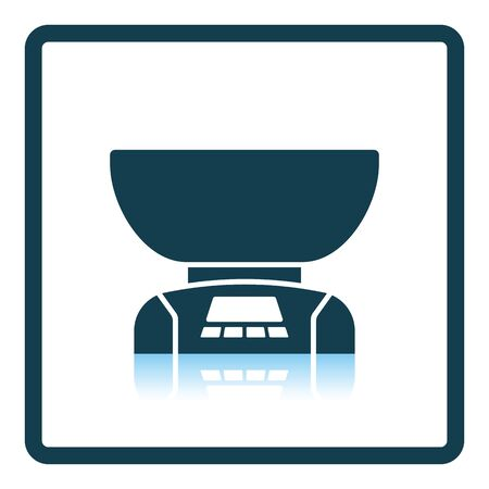 freestanding: Kitchen electric scales icon. Shadow reflection design. Vector illustration.