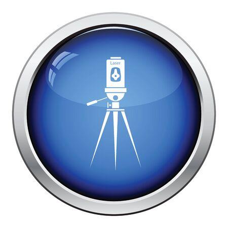 Laser level tool icon. Glossy button design. Vector illustration. Illustration
