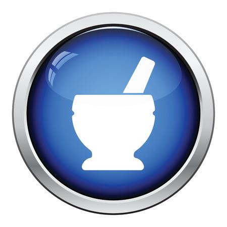 chinaware: Mortar and pestle icon. Glossy button design. Vector illustration.