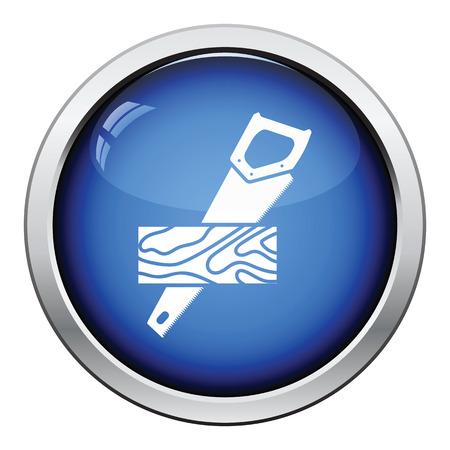 serrucho: Serrucho cortando un icono del tablón. Diseño brillante del botón. Ilustración del vector.