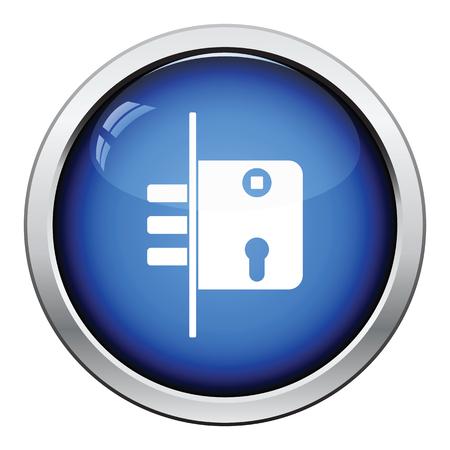 button icon: Door lock icon. Glossy button design. Vector illustration.