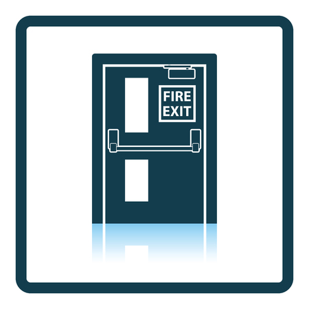 fire icon: Fire exit door icon. Shadow reflection design. Vector illustration. Illustration