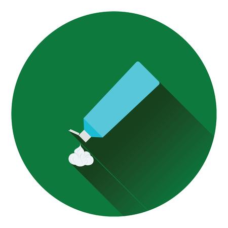 pasta dental: icono de tubo de pasta de dientes. diseño de color plano. Ilustración del vector.