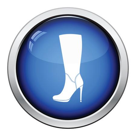 Autumn woman high heel boot icon. Glossy button design. Vector illustration.