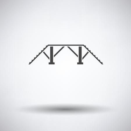Chien de formation banc icône sur fond gris avec une ombre ronde. Vector illustration.