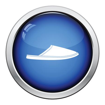 warmly: Man home slipper icon. Glossy button design. Vector illustration.