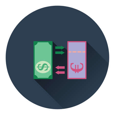 credit union: Currency exchange icon. Flat color design. Vector illustration.