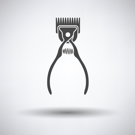 Pet cutting machine icon on gray background with round shadow. Vector illustration.
