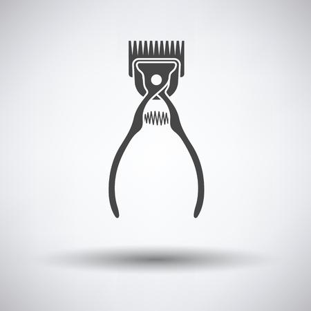 Pet Schneidemaschine Symbol auf grauem Hintergrund mit runden Schatten. Vektor-Illustration.