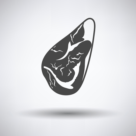 meat steak: Meat steak icon on gray background with round shadow. Vector illustration.