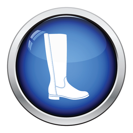 autumn woman: Autumn woman boot icon. Glossy button design. Vector illustration.