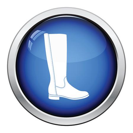 Autumn woman boot icon. Glossy button design. Vector illustration.