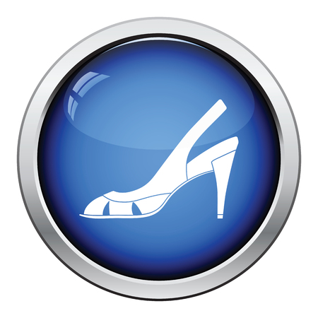 heel strap: Woman heeled sandal icon. Glossy button design. Vector illustration. Illustration