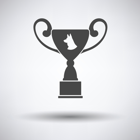 Dog prize cup icon on gray background with round shadow. Vector illustration.