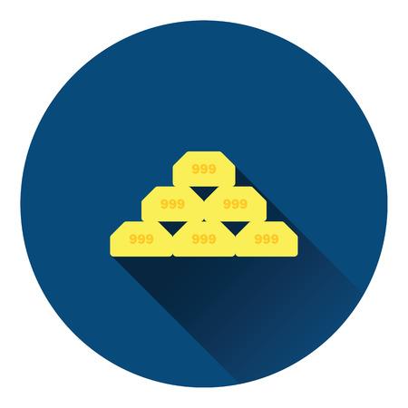 bullion: Gold bullion icon. Flat color design. Vector illustration.