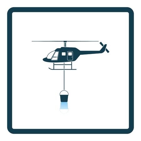 helicopter rescue: Fire service helicopter icon. Shadow reflection design. Vector illustration. Illustration