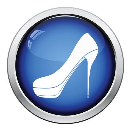 high heel shoe: High heel shoe icon. Glossy button design. Vector illustration.