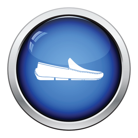 moccasin: Moccasin icon. Glossy button design. Vector illustration. Illustration