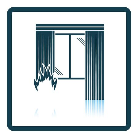 Home fire icon. Shadow reflection design. Vector illustration. Illustration